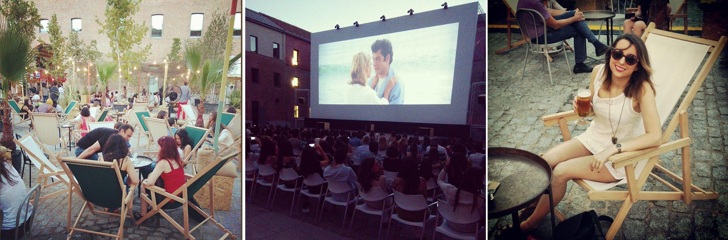 Zona de cerveceo y restaurante con cine al aire libre en El Cuartel (a la dcha, Susana haciendo el mono)