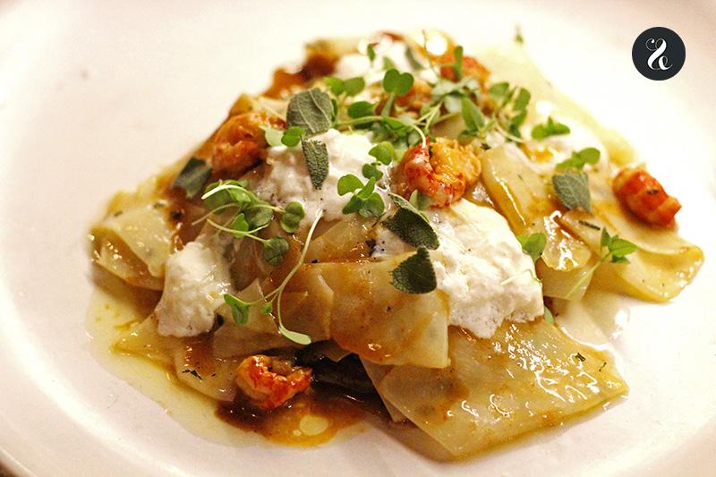Celeri pichón y cangrejos en restaurante Fismuler Madrid
