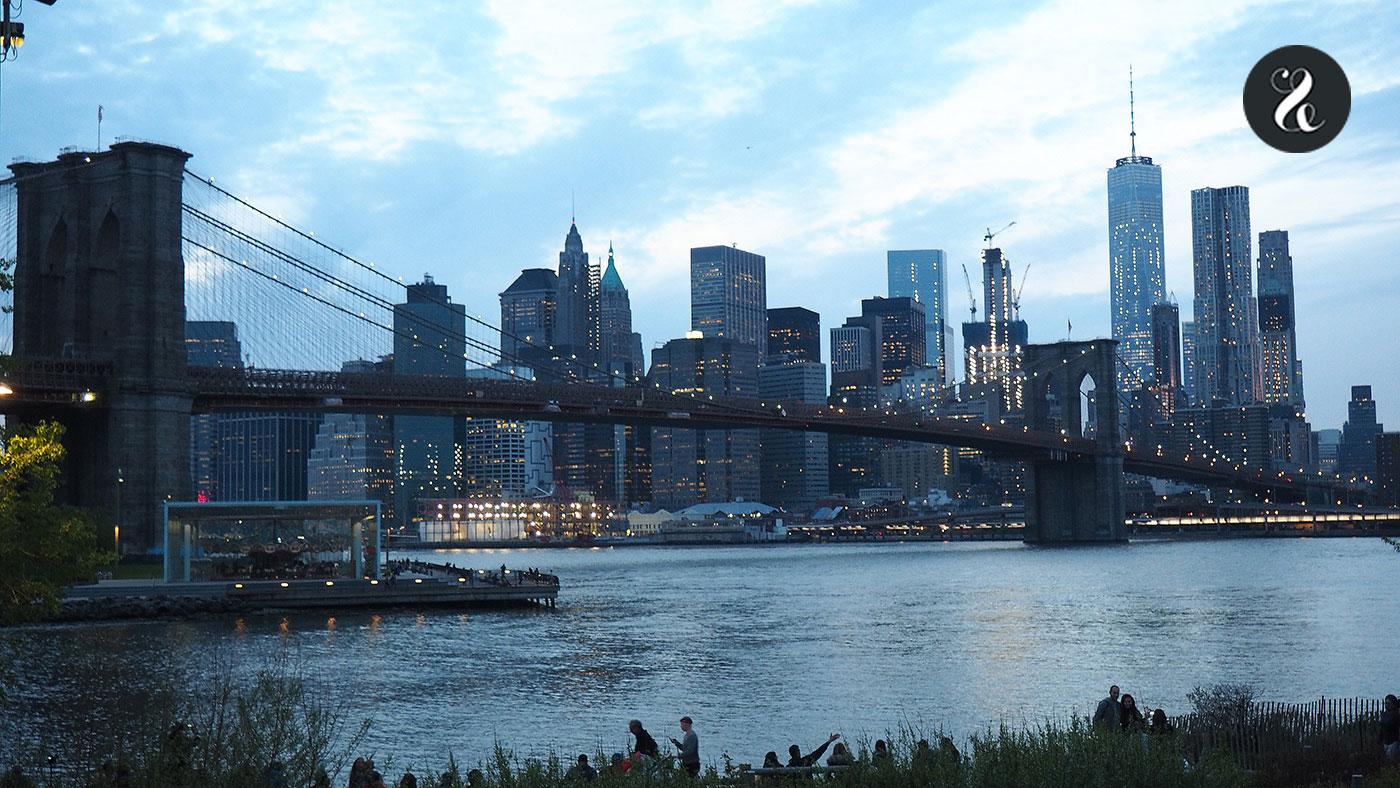 Las vistas del Puente de Brooklyn desde Dumbo son una pasada. Al anochecer, aún más.