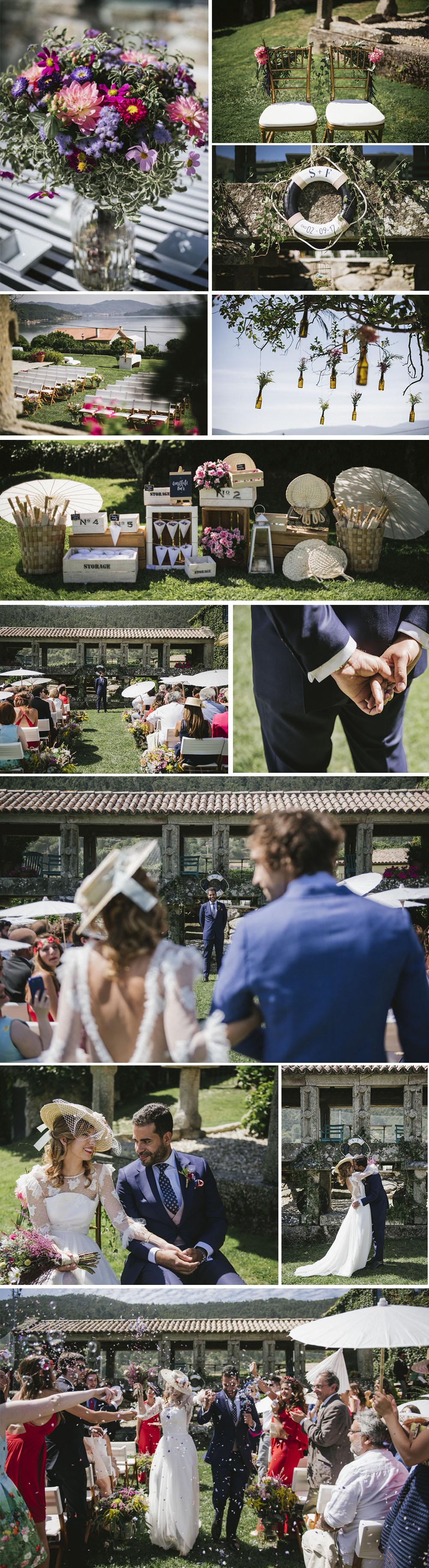 """""""Marineros, ¡al 'amar!"""" La ceremonia fue civil. La celebramos al aire libre en la misma Rectoral, junto al mar y con música de jazz en directo by Jazz Boda. 'Another Day of Sun', de Lala Land, fue el tema con el que recorrimos nuestros primeros pasos como casados :)"""