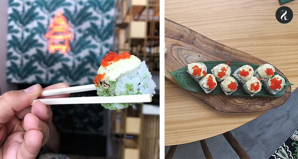 sushi nigiri de huevo La Pagoda restaurante asiático Madrid