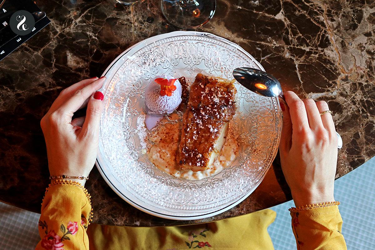 torrija con arroz con leche - Café Comercial - Madrid