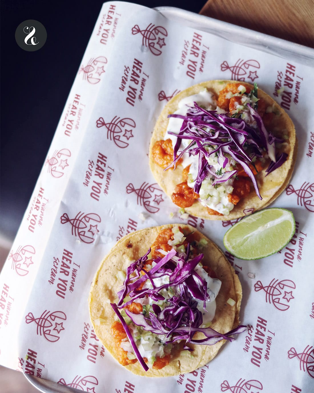 The Lobstar Madrid - buffalo shrimp tacos