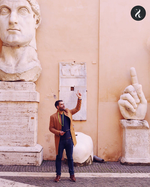 Fabio en el patio de los Museos Capitolinos
